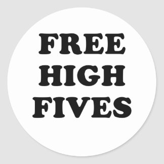 Free High Fives Classic Round Sticker