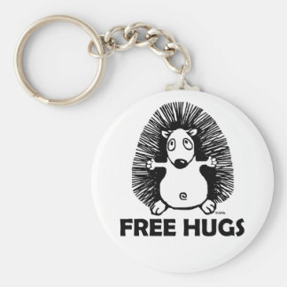 Free hugs basic round button key ring