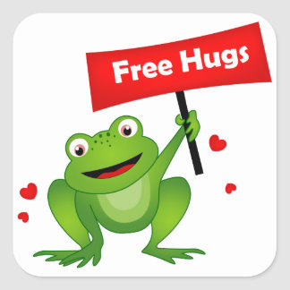 free hugs cute frog square sticker