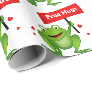 free hugs cute frog wrapping paper