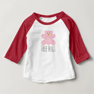 Free Hugs Cute Little Pink Teddy Bear Baby T-Shirt
