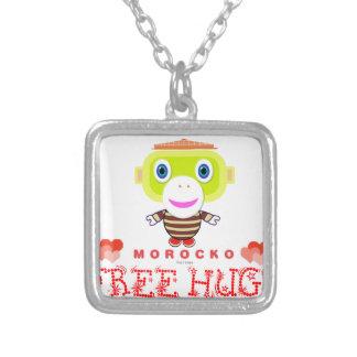 Free Hugs-Cute Monkey-Morocko Silver Plated Necklace