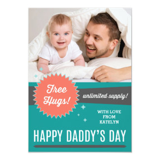 Free Hugs Father's Day Flat Card Personalized Invites