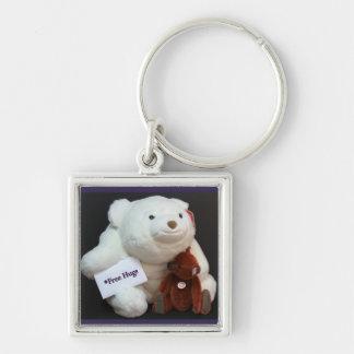 Free Hugs Keyring Silver-Colored Square Key Ring