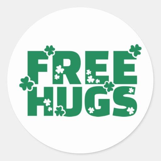Free hugs shamrocks round sticker