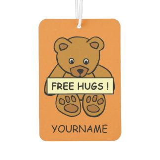 Free Hugs Teddy custom name & color air freshner Car Air Freshener