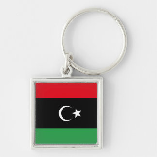 Free Libya Flag Silver-Colored Square Key Ring