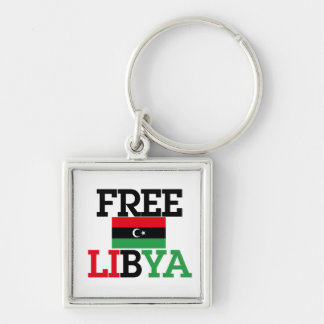 Free Libya Silver-Colored Square Key Ring