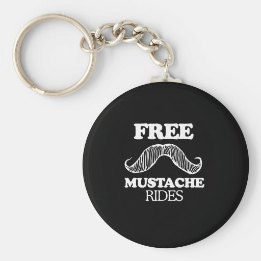 FREE MUSTACHE RIDES T-shirt Basic Round Button Key Ring