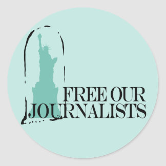 Free our journalists classic round sticker