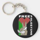 Free Palestine Dove Heart Peace Sign Black Key Ring