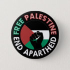 Free Palestine End Apartheid Flag Fist Black 6 Cm Round Badge