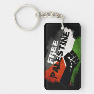 Free Palestine Flag (distressed) Single-Sided Rectangular Acrylic Key Ring