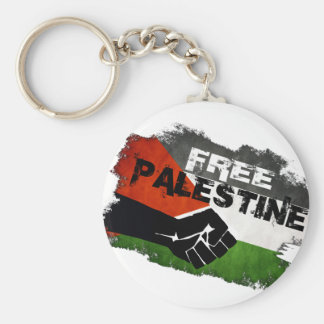 Free Palestine Grunge Flag Basic Round Button Key Ring