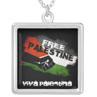 Free Palestine Grunge Flag Square Pendant Necklace