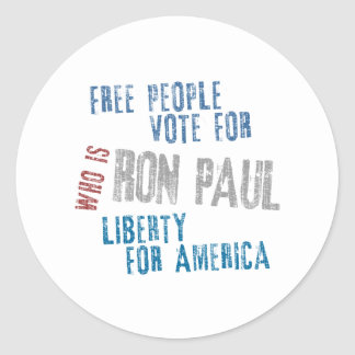 Free people vote for Ron Paul Round Sticker