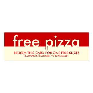 free pizza coupon pack of skinny business cards