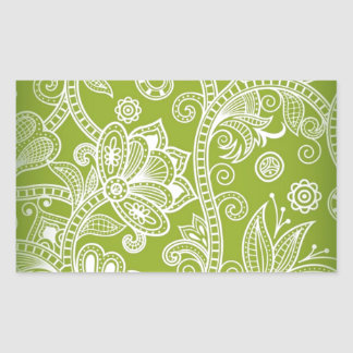 Free-Seamless-Floral-Vector-Background GREEN WHITE Rectangular Sticker
