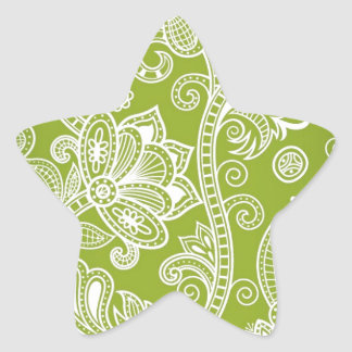 Free-Seamless-Floral-Vector-Background GREEN WHITE Star Sticker