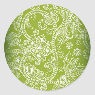 Free-Seamless-Floral-Vector-Background GREEN WHITE Stickers