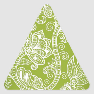 Free-Seamless-Floral-Vector-Background GREEN WHITE Triangle Sticker