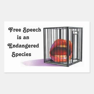 Free Speech Is an Endangered Species Rectangular Sticker
