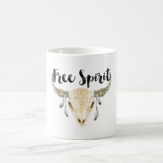 Free Spirit Bull Head with Feathers Coffee Mug