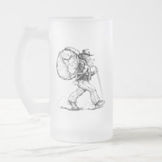 Free Spirit Hiking the World Frosted Glass Beer Mug