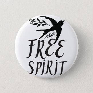 free spirit with pretty swallow bird 6 cm round badge