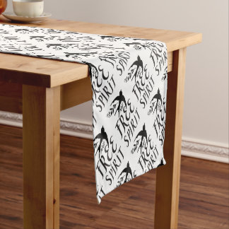 free spirit with pretty swallow bird short table runner