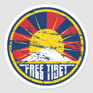 Free Tibet Round Grunge Round Stickers