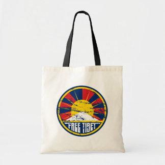 Free Tibet Round Grunge Tote Bag