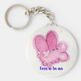 Free to be me basic round button key ring
