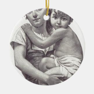 free vintage printable - mother and child.jpg round ceramic decoration