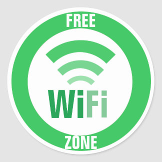 Free WiFi Sign Classic Round Sticker