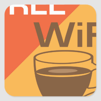 Free Wifi Sign Square Sticker