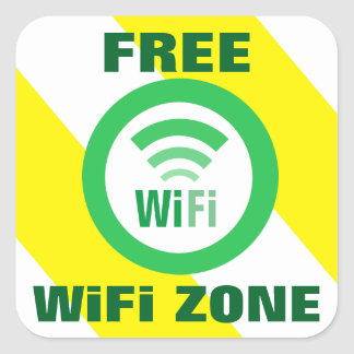 Free WiFi Zone Sign Square Sticker