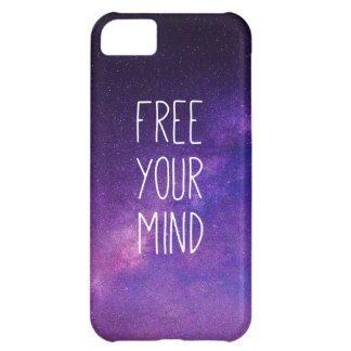 """Free Your Mind"" Quote Blue Night Sky iPhone 5C Case"