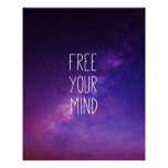 """""""Free Your Mind"""" Quote Blue Night Sky Poster"""