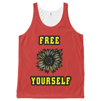 """""""Free Yourself"""" Unisex Tanktop All-Over Print Tank Top"""