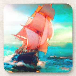Freedom Bay, Ocean Sailing, Sunrise Beverage Coaster