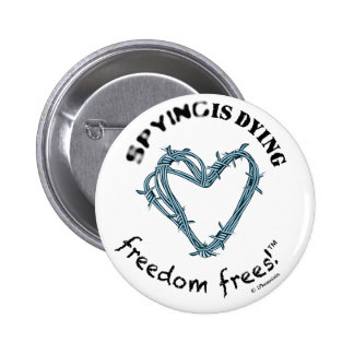 """Freedom button round 2 25"""" SpyDieFree barbwire Buttons"""