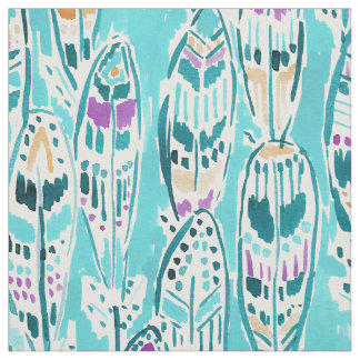 FREEDOM FEATHERS Whimsical Boho Watercolor Print Fabric