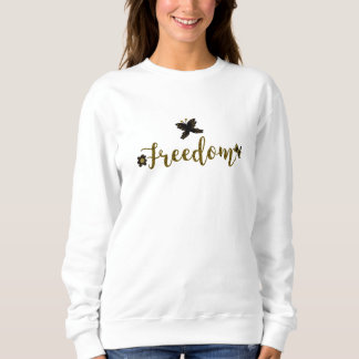 Freedom Golden Boho Spring Butterfly Calligraphy Sweatshirt