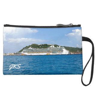 Freedom in Sint Maarten Monogrammed Suede Wristlet