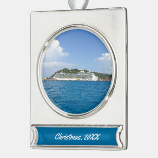 Freedom in the Caribbean Custom Dated Silver Plated Banner Ornament