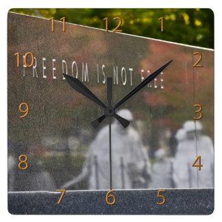 Freedom Is Not Free, Korean War Memorial Square Wall Clock
