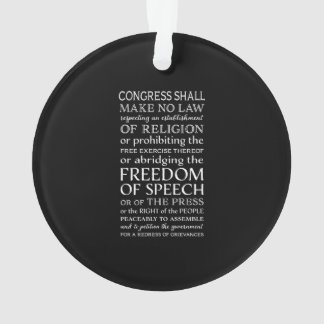 Freedom of Speech Bill of Rights Text Ornament