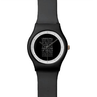 Freedom of Speech Bill of Rights Text Wrist Watches