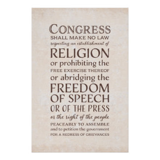 Freedom of Speech - Text of the First Amendment Poster